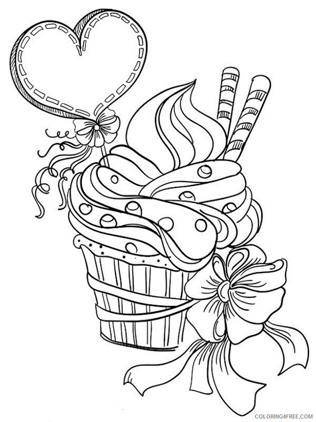 Adult Valentines Day Coloring Pages Cupcake for Adults Printable 2020 511 Coloring4free