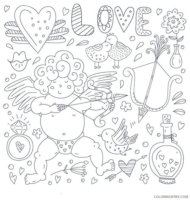 Adult Valentines Day Coloring Pages Cupid Valentines Day Printable 2020 504 Coloring4free