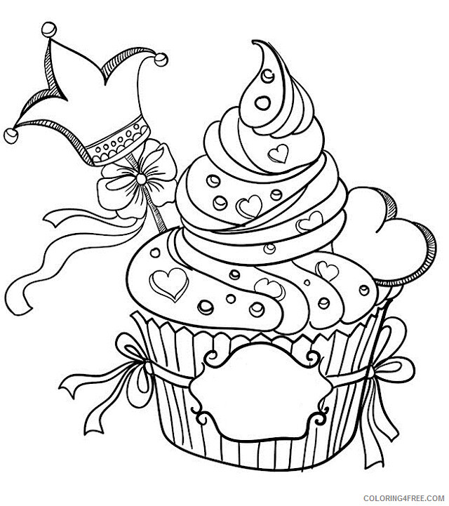 Adult Valentines Day Coloring Pages King Cupcakefor Adults Printable 2020 514 Coloring4free