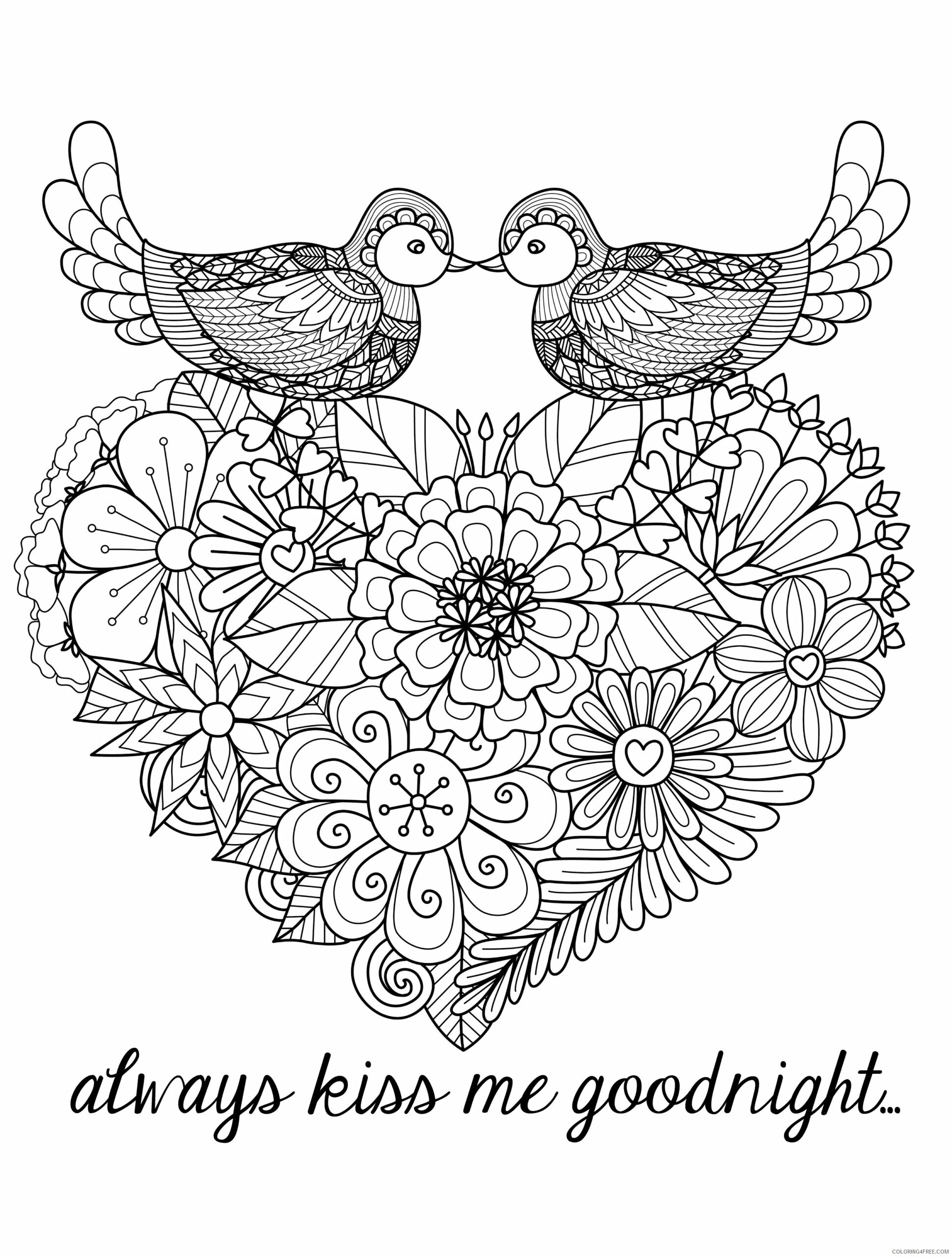 Adult Valentines Day Coloring Pages Kiss Me Goodnight Printable 2020 506 Coloring4free