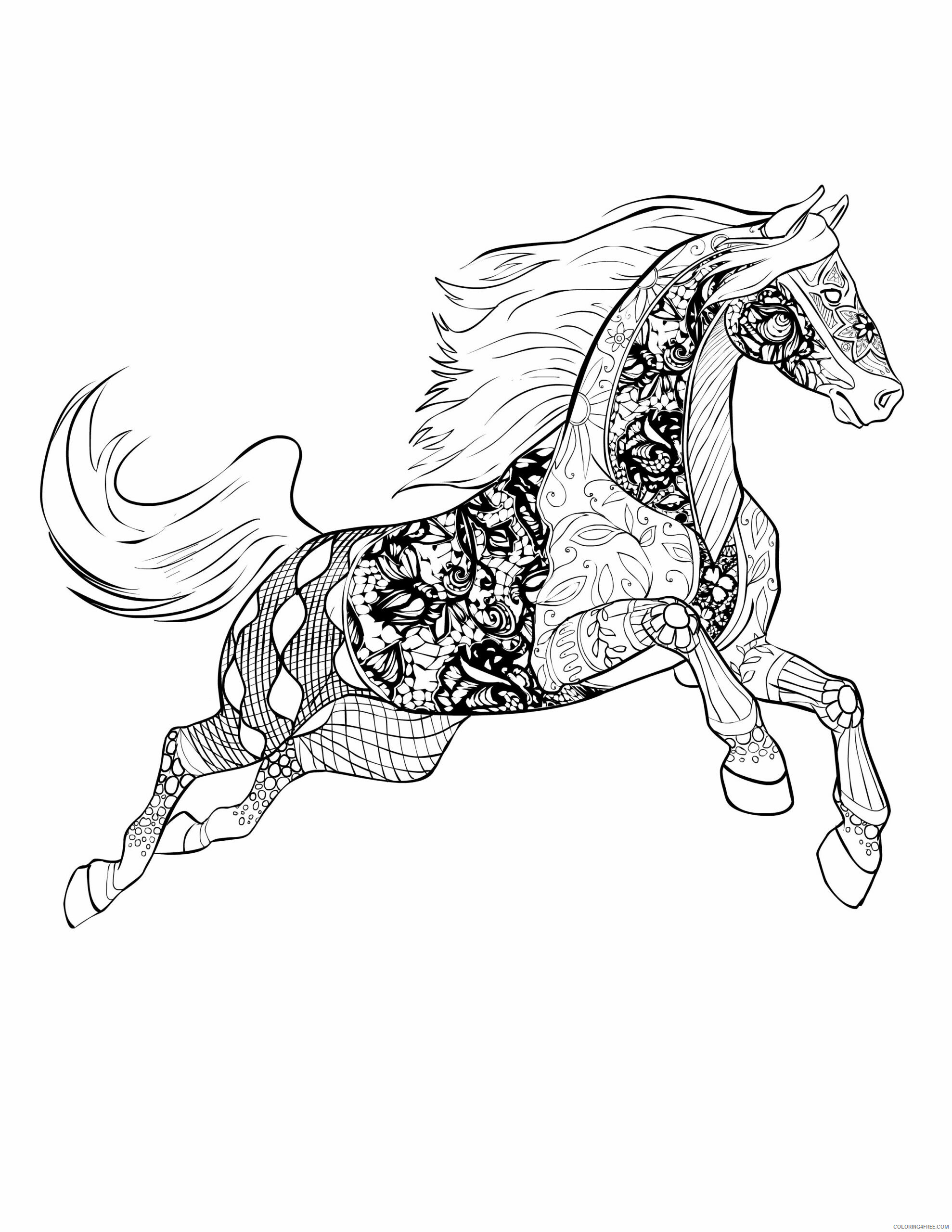 Advanced Coloring Pages Adult Advanced Horse for Adults Printable 2020 063 Coloring4free