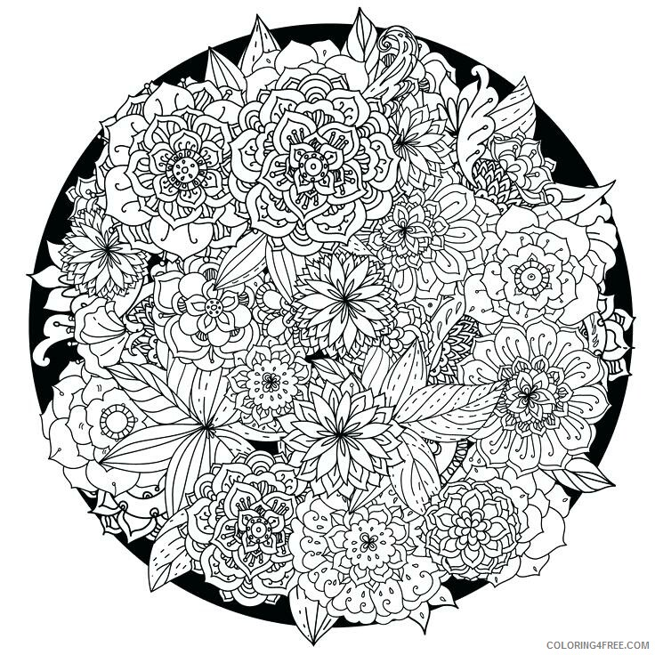 Advanced Coloring Pages Adult Flowers Advanced for Adults Printable 2020 066 Coloring4free