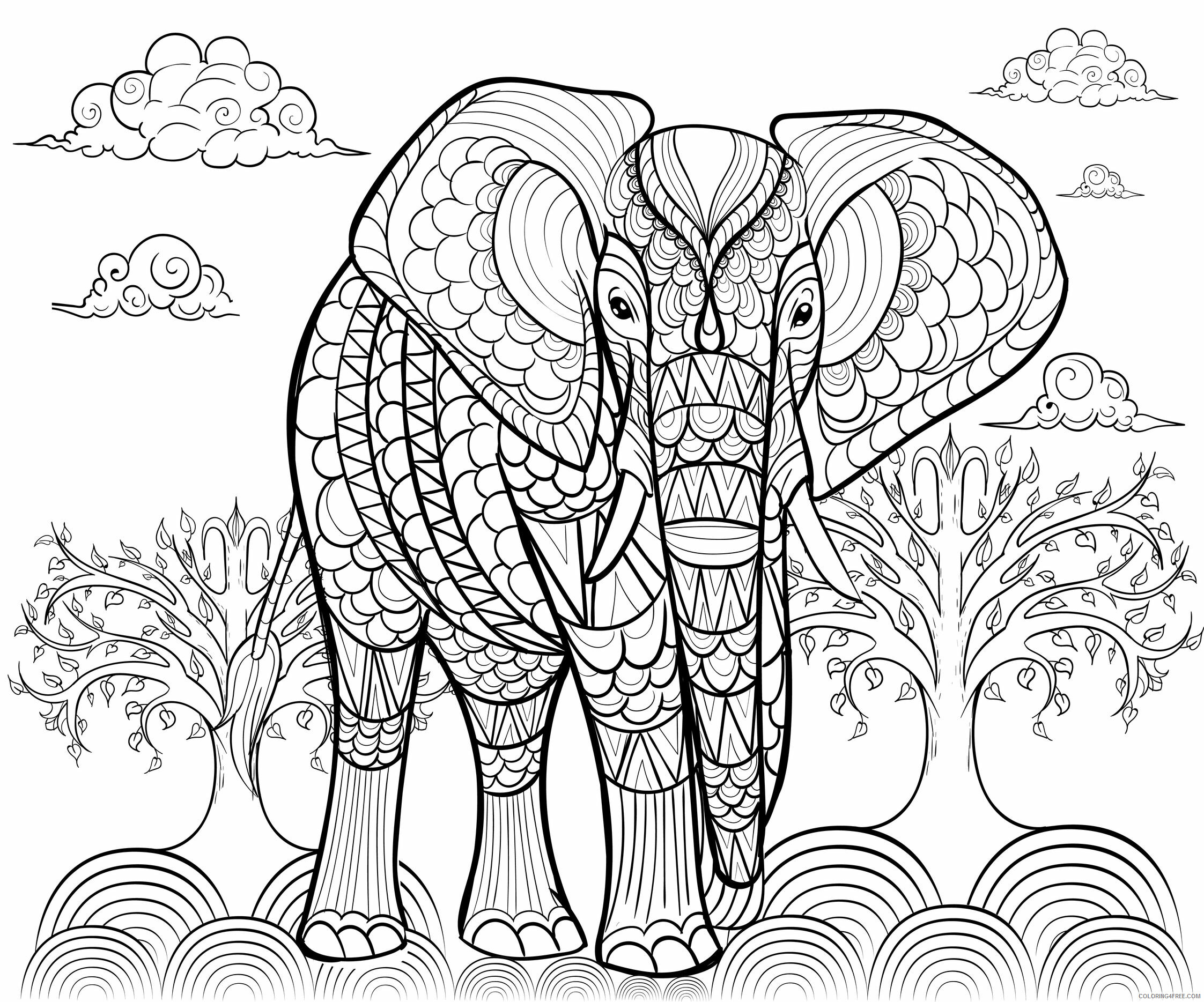 Beautiful Adult Coloring Pages Beautiful Elephant for Adult Printable 2020 530 Coloring4free