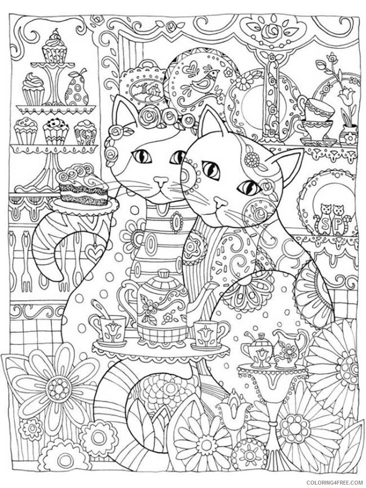 Cat for Adults Coloring Pages cat for adults 1 Printable 2020 549 Coloring4free