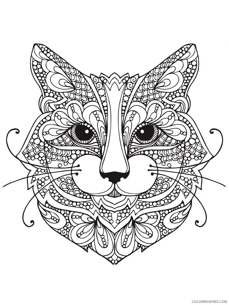 Cat for Adults Coloring Pages cat for adults 11 Printable 2020 551 Coloring4free