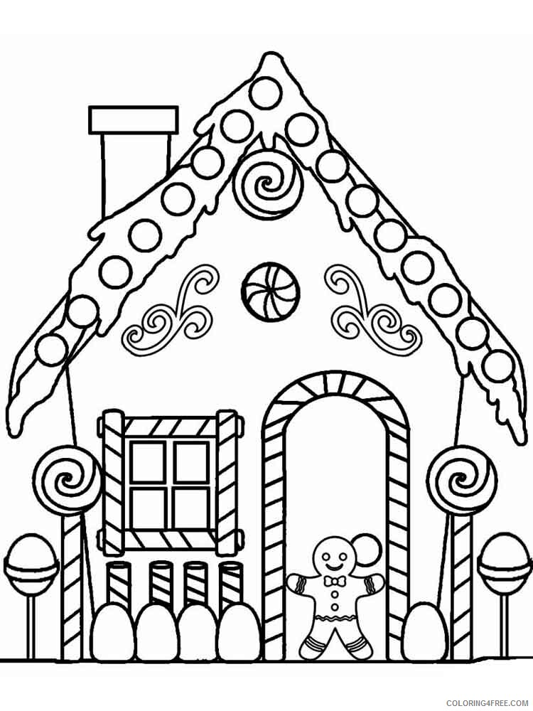 Christmas Gingerbread House Coloring Pages Printable 2020 8 Coloring4free -  Coloring4Free.com