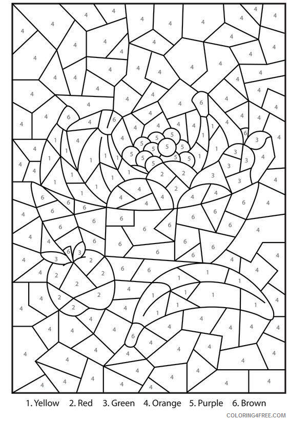 Color By Number Coloring Pages Educational Adult Complex Printable 2020  0990 Coloring4free - Coloring4Free.com