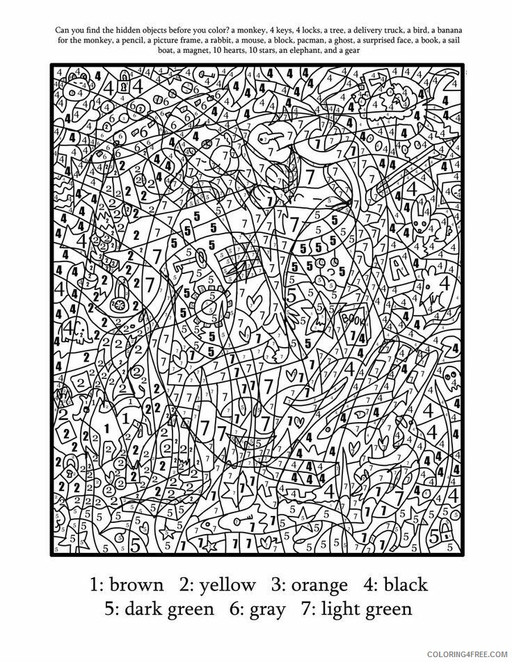 Color By Number Coloring Pages Educational Complex Adult Printable 2020  1040 Coloring4free - Coloring4Free.com