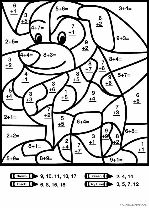 Color By Number Coloring Pages Educational Dog Math Printable 2020 1045  Coloring4free - Coloring4Free.com