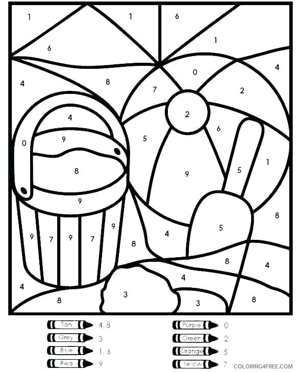 Color By Number Coloring Pages Educational Kindergarten Worksheet 2020 1064  Coloring4free - Coloring4Free.com
