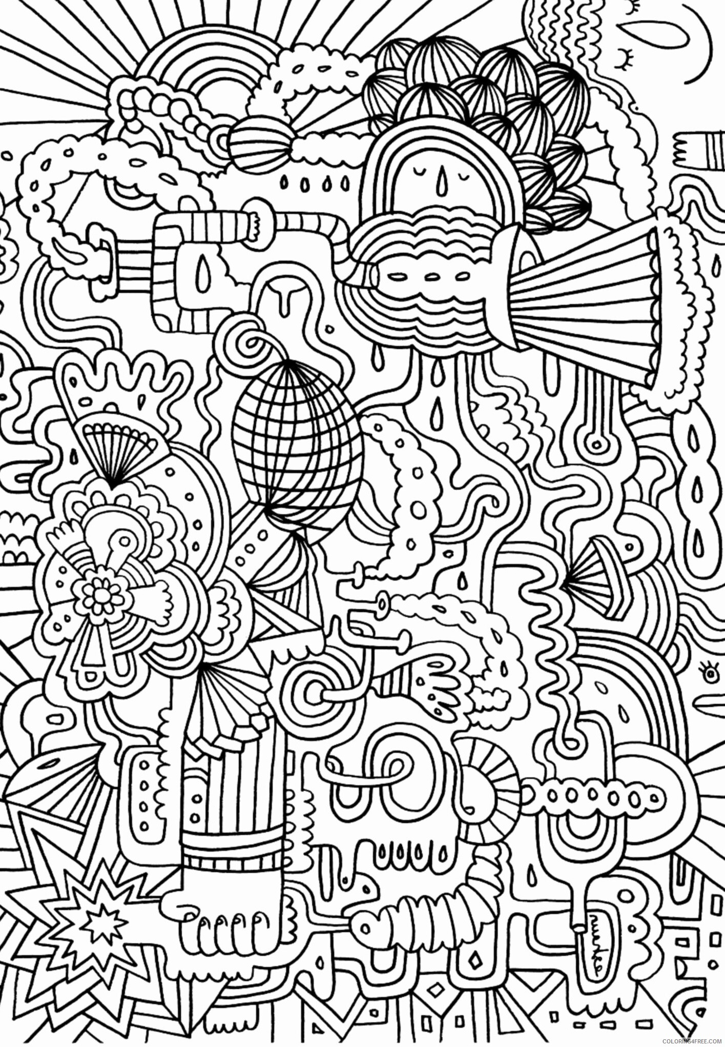 Complex Coloring Pages Adult Complex Doodle Printable 2020 222 Coloring4free