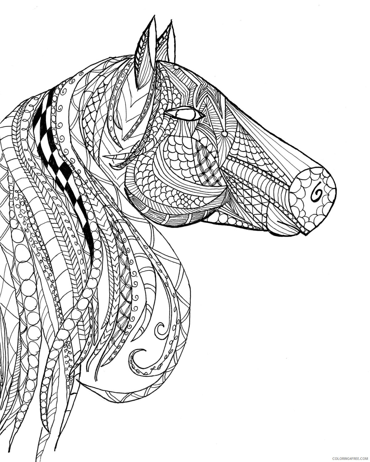 Detailed Coloring Pages Adult Detailed Horse Head for Adults Printable 2020 281 Coloring4free