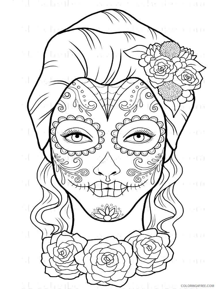 Dia De Los Muertos Coloring Pages Adult 11 Printable 2020 287 Coloring4free  - Coloring4Free.com