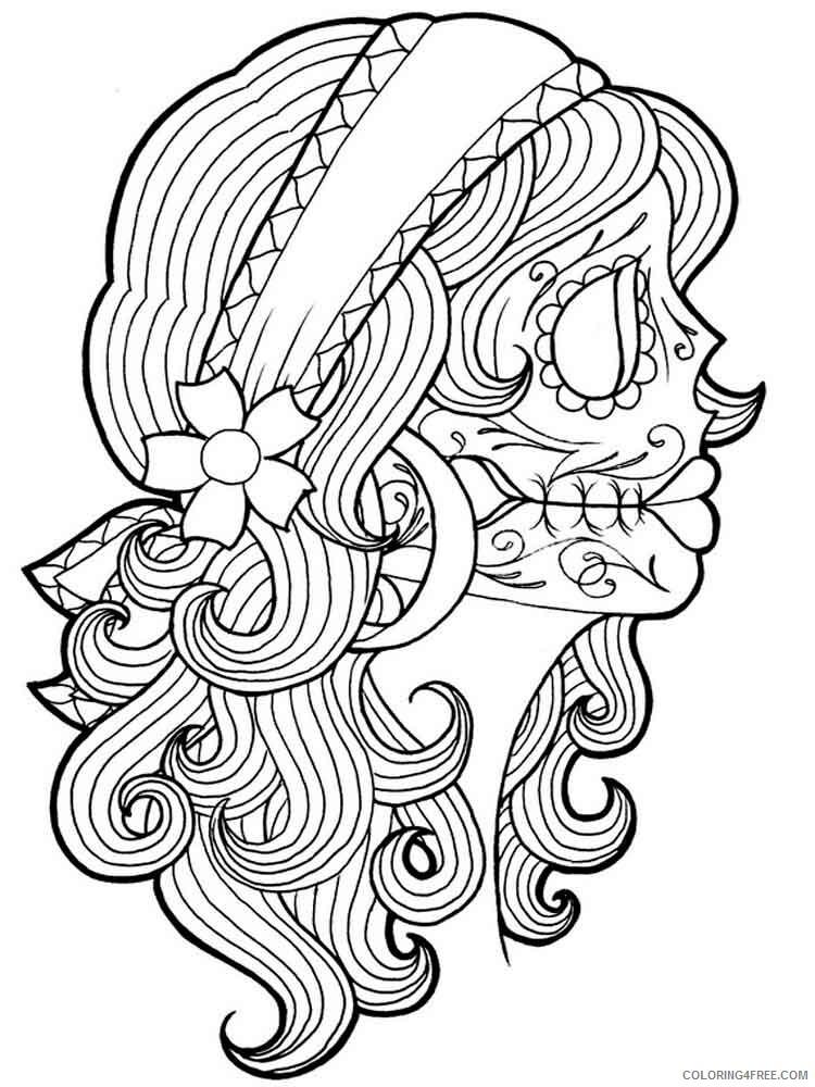 Dia De Los Muertos Coloring Pages Adult 5 Printable 2020 296 Coloring4free  - Coloring4Free.com