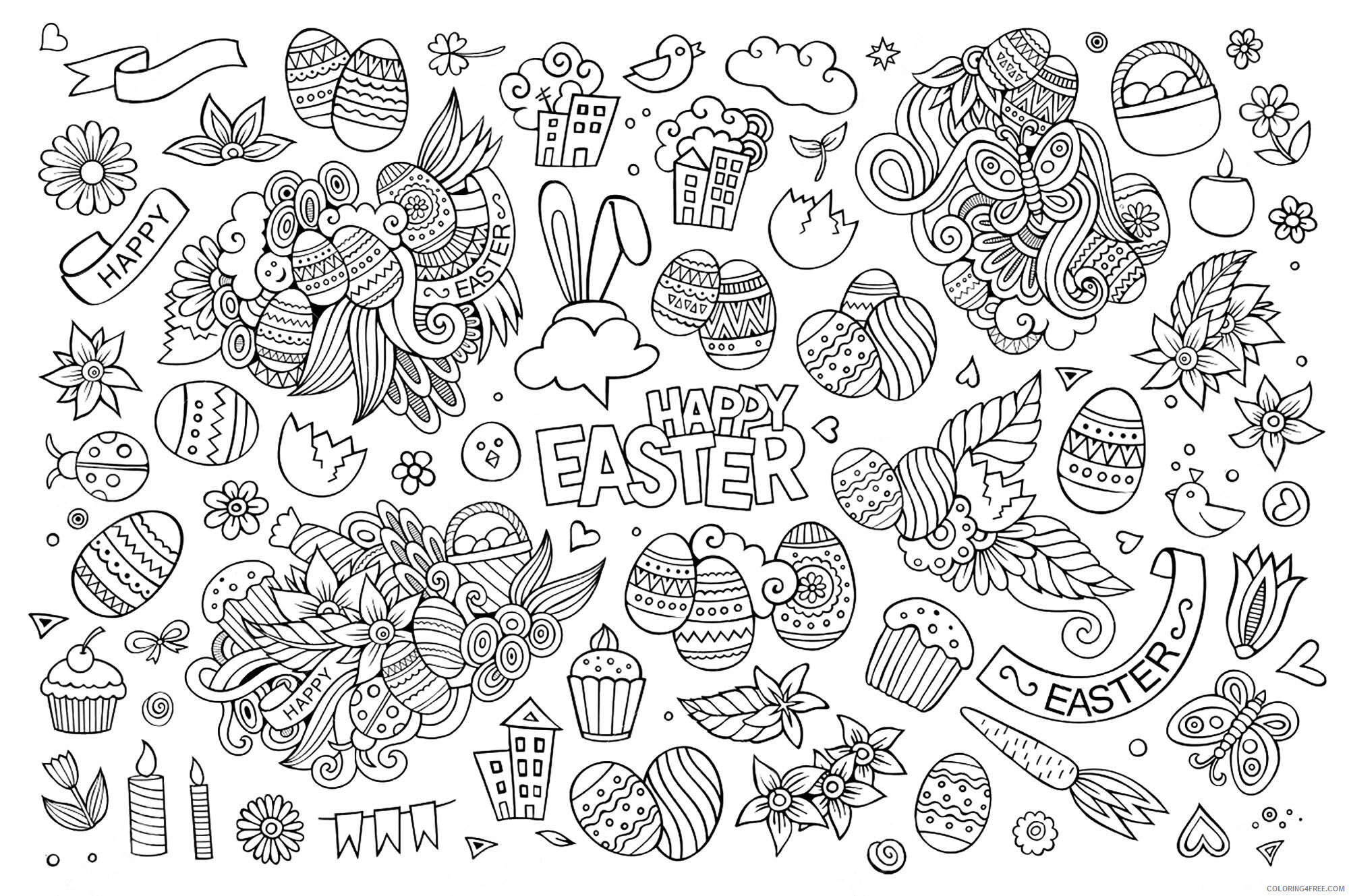 Doodle Coloring Pages Adult Easter Doodle for Adults Printable 2020 354 Coloring4free