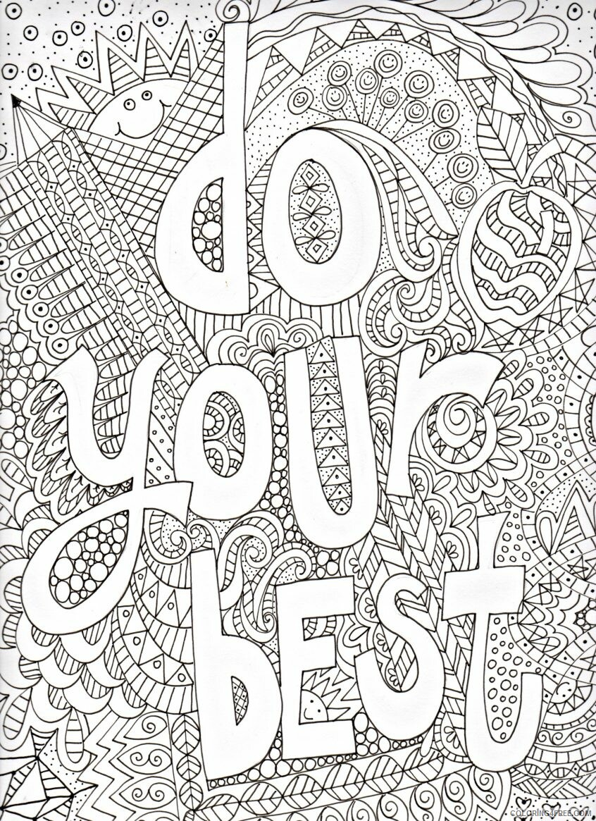 Doodle Coloring Pages Adult arty all quotes sheets motivational Print 2020 321 Coloring4free