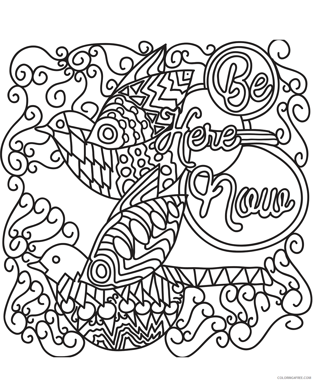 Doodle Coloring Pages Adult birds_doodle_art a4 Printable 2020 317 Coloring4free