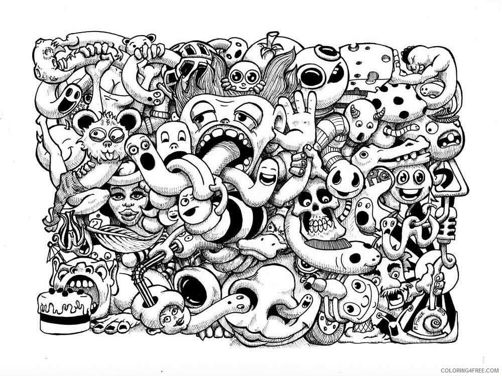 Doodle Coloring Pages Adult Doodle Adults 17 Printable 2020 333  Coloring4free - Coloring4Free.com