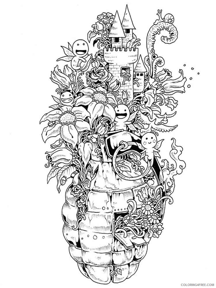 Doodle Coloring Pages Adult doodle adults 22 Printable 2020 337 Coloring4free