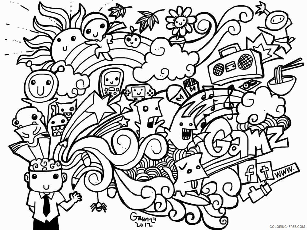 Doodle Coloring Pages Adult doodle adults 29 Printable 2020 342 Coloring4free