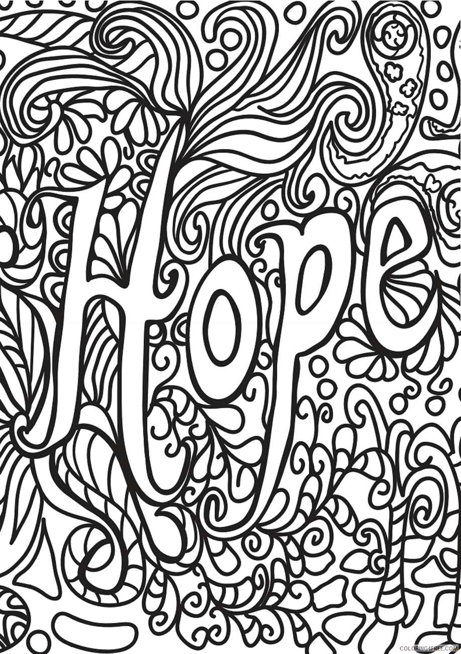 Doodle Coloring Pages Adult hope_doodle_art a4 Printable 2020 320 Coloring4free