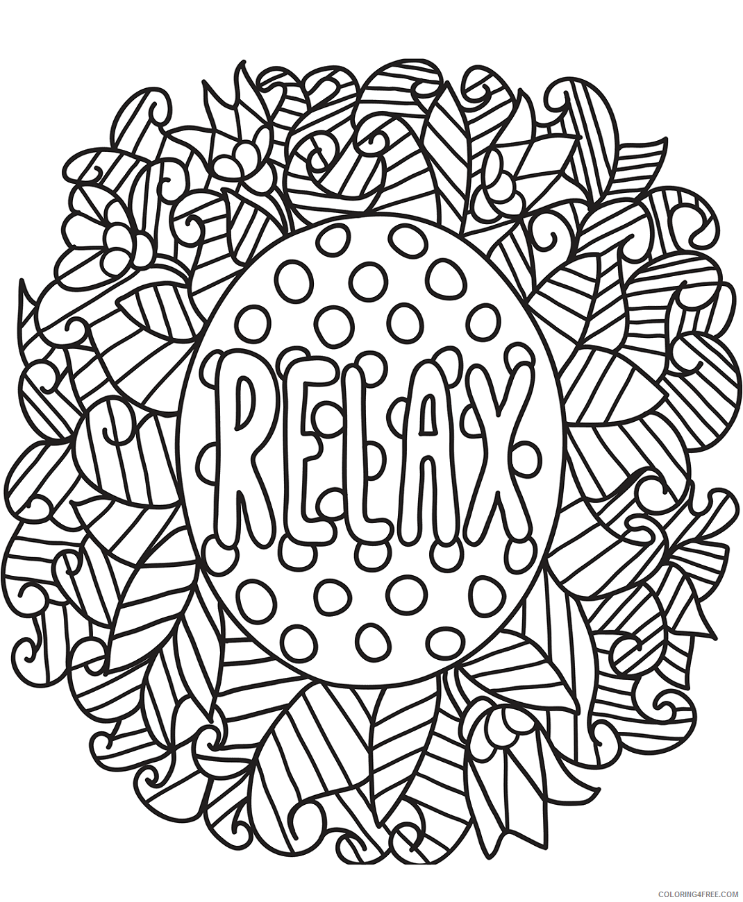 Doodle Coloring Pages Adult relax_doodle a4 Printable 2020 319 Coloring4free