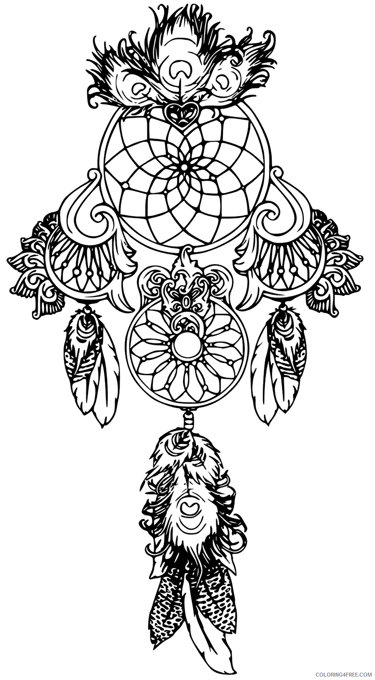 Dream Catcher Coloring Pages Adult Dreamcatcher Tattoo Printable 2020 380 Coloring4free