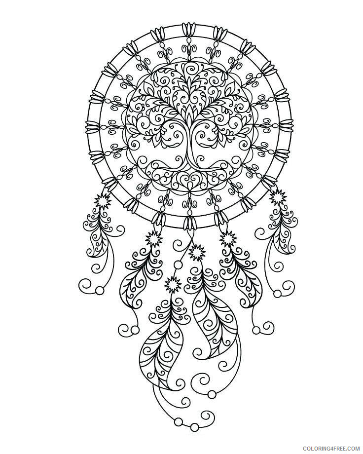 Dream Catcher Coloring Pages Adult Printable Dream Catcher Printable 2020 382 Coloring4free