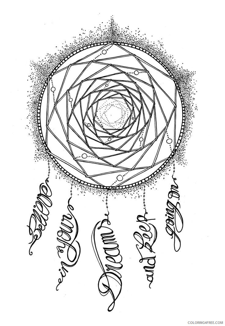 Dream Catcher Coloring Pages Adult Printable Dream Catcher Printable 2020 383 Coloring4free