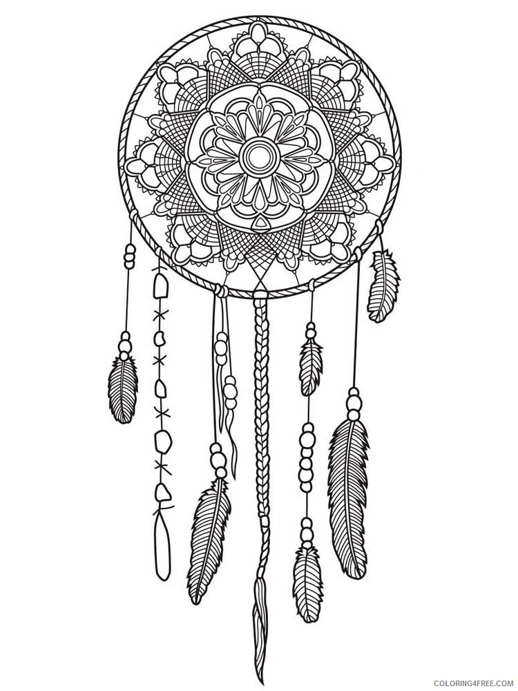 Dream Catcher Coloring Pages Adult dream catcher for adults 10 Printable 2020 363 Coloring4free
