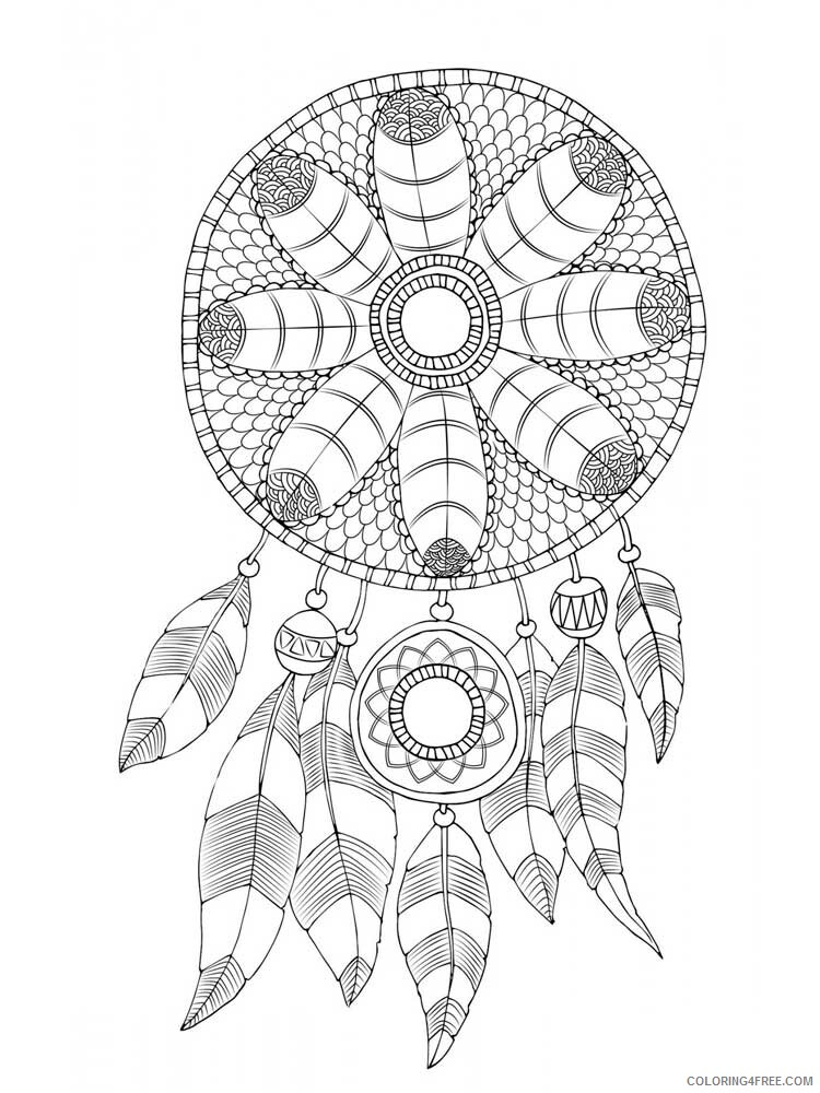 Dream Catcher Coloring Pages Adult dream catcher for adults 12 Printable 2020 364 Coloring4free