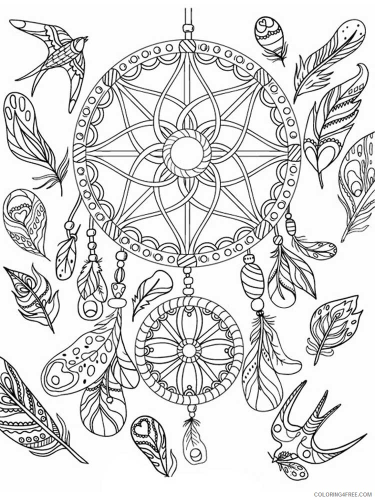 Dream Catcher Coloring Pages Adult dream catcher for adults 17 Printable 2020 369 Coloring4free