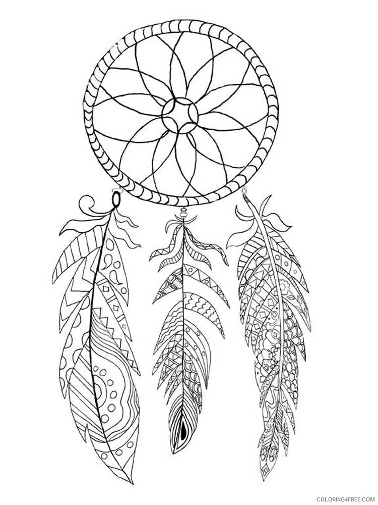 Dream Catcher Coloring Pages Adult dream catcher for adults 3 Printable 2020 374 Coloring4free