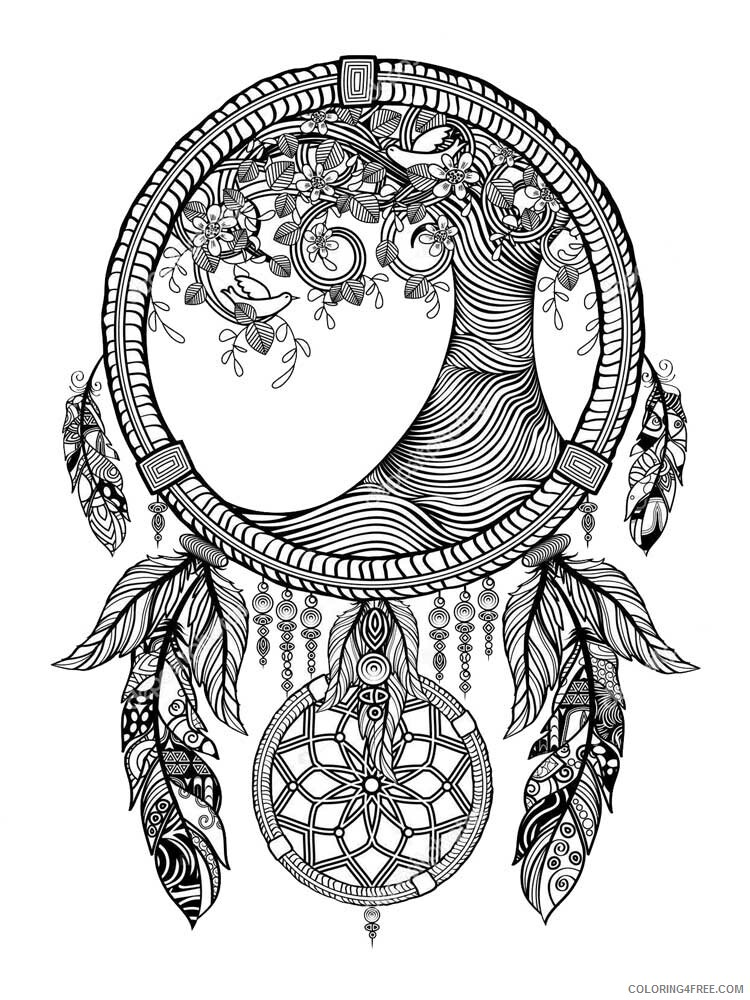Dream Catcher Coloring Pages Adult dream catcher for adults 4 Printable 2020 375 Coloring4free
