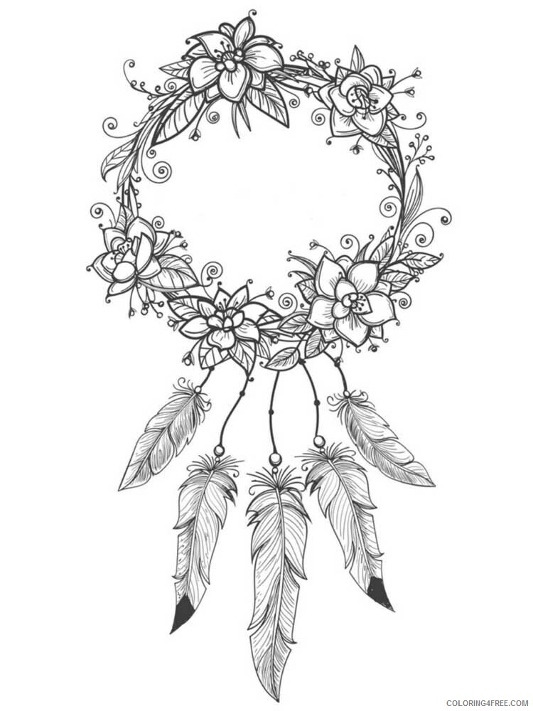 Dream Catcher Coloring Pages Adult dream catcher for adults 6 Printable 2020 377 Coloring4free