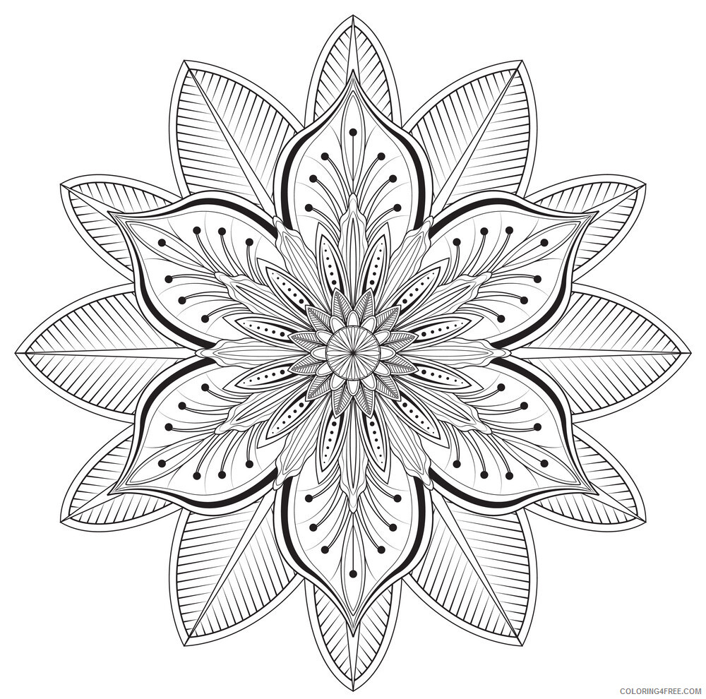 Flower Mandala Coloring Pages Adult Floral Pattern For Adults Printable 2020 384 Coloring4free