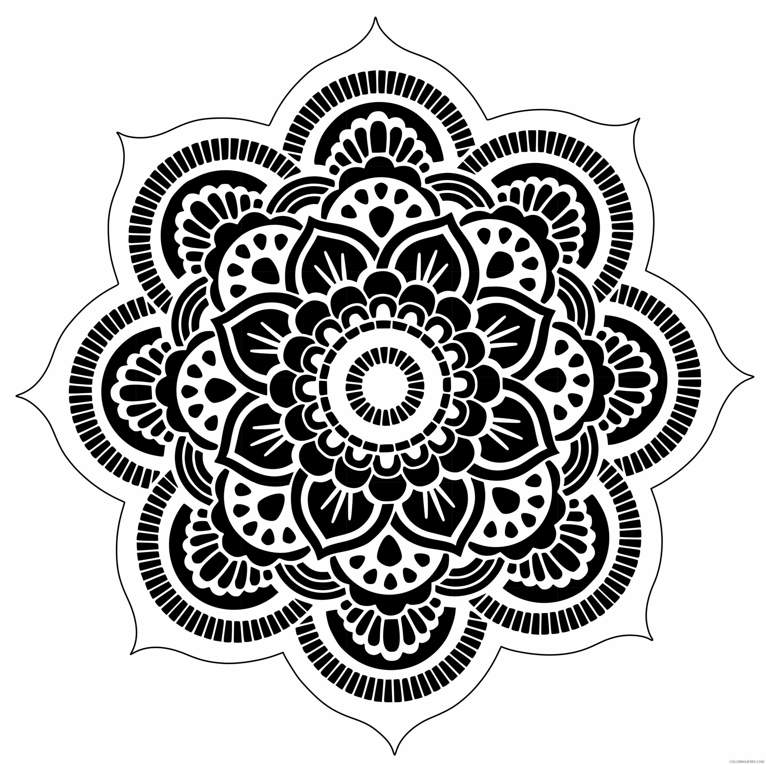 Flower Mandala Coloring Pages Adult Flower Mandala for Adults Printable 2020 396 Coloring4free