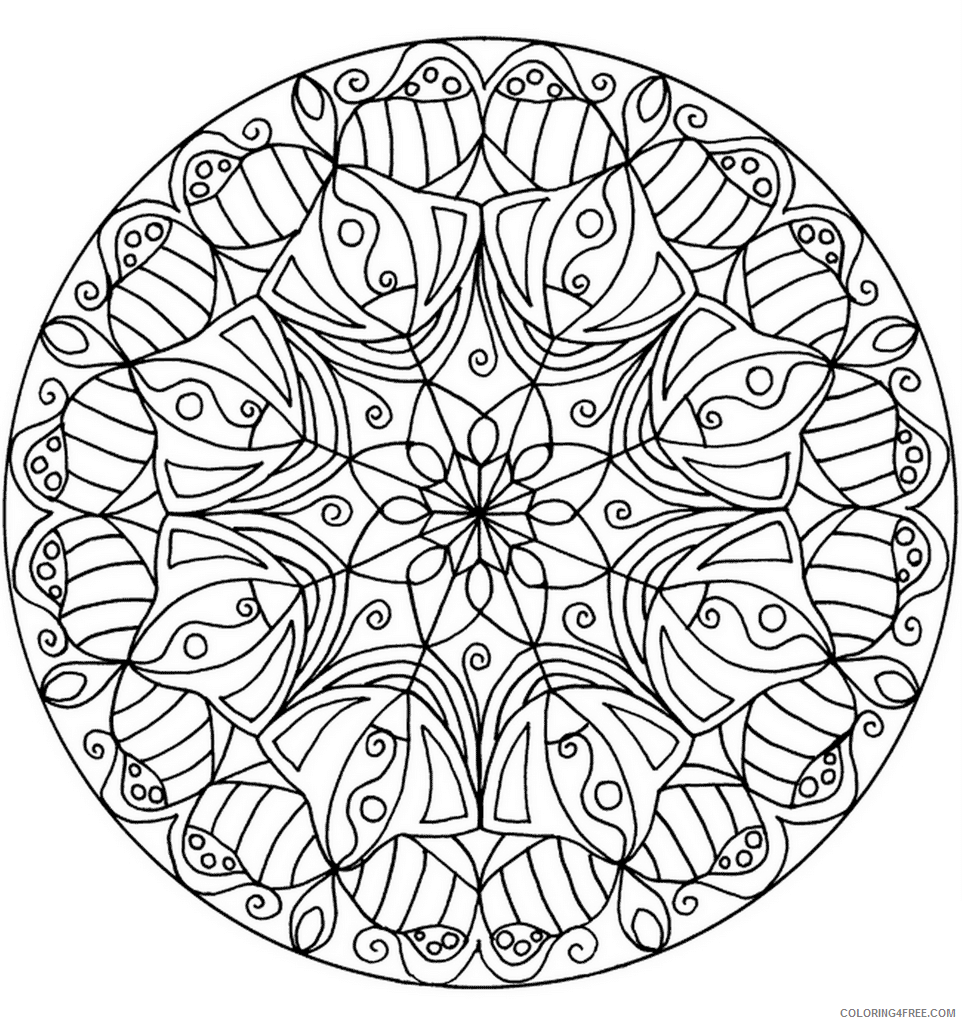 Flower Mandala Coloring Pages Adult Printable 2020 397 Coloring4free
