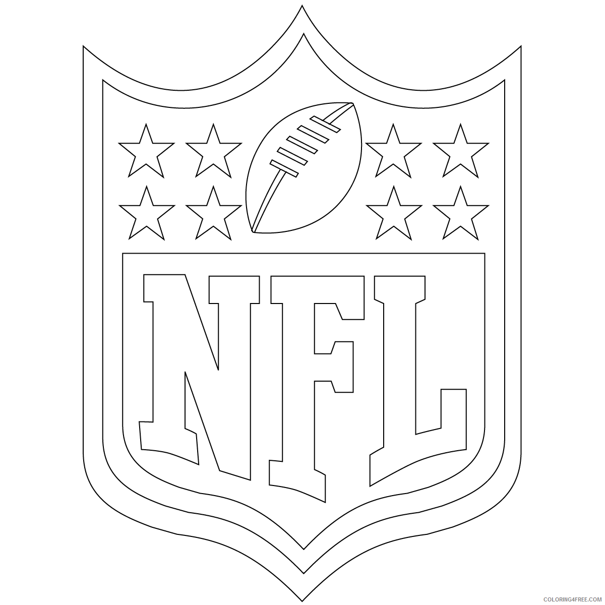 Football Coloring Pages For Boys Free Football Nfl Shield Printable 2020 0399 Coloring4free Coloring4free Com