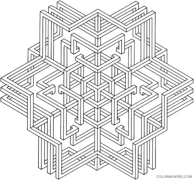 Geometric Design Coloring Pages Adult 3D Printable 2020 412 Coloring4free