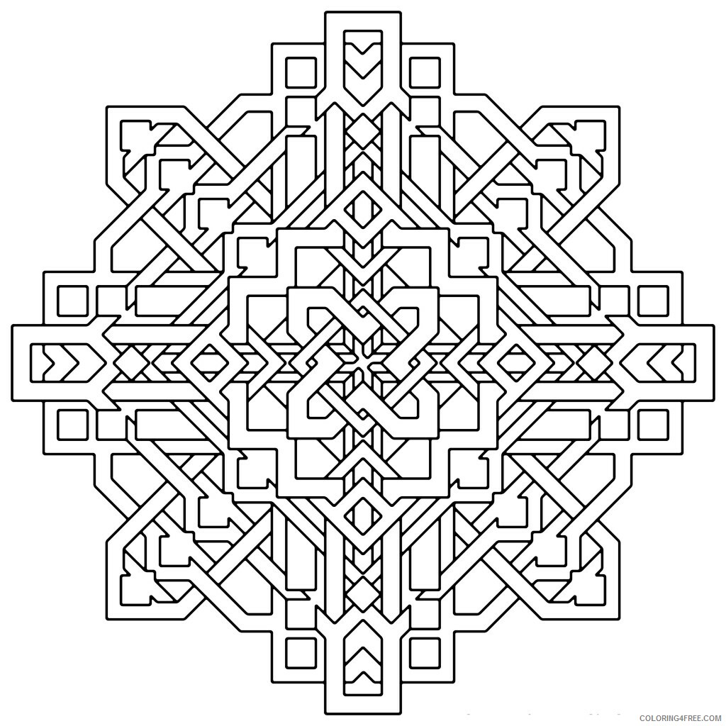 Geometric Design Coloring Pages Adult free for adults Printable 2020 409 Coloring4free