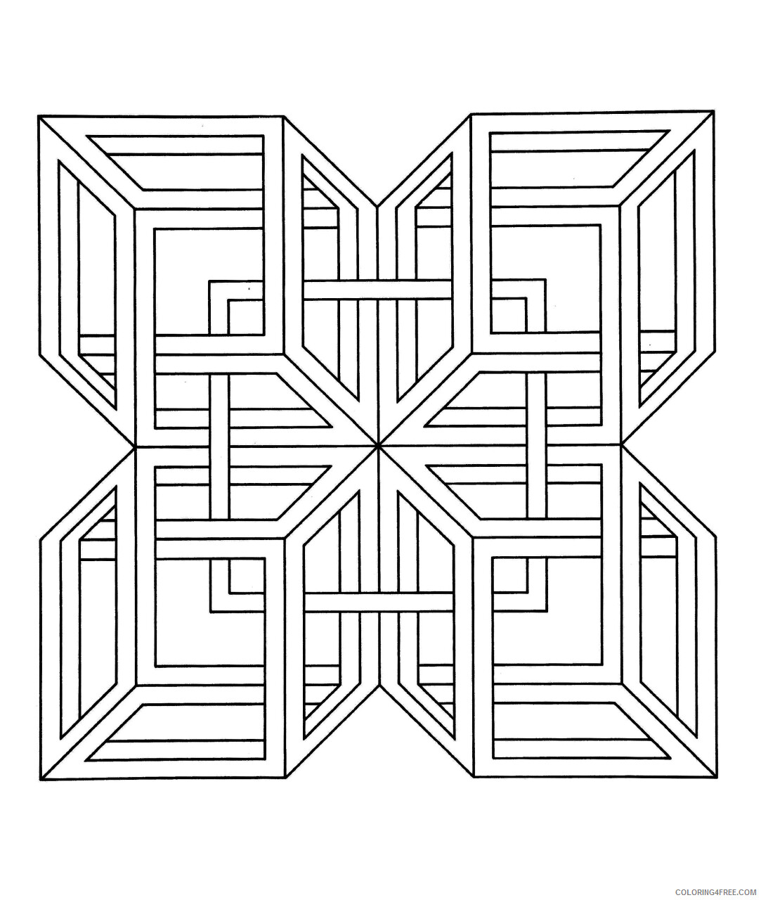 Geometric Design Coloring Pages Adult hard to print out 25781 Printable 2020 411 Coloring4free