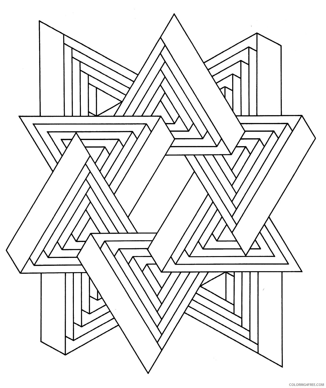 Geometric Design Coloring Pages Adult hard to print out Printable 2020 408 Coloring4free