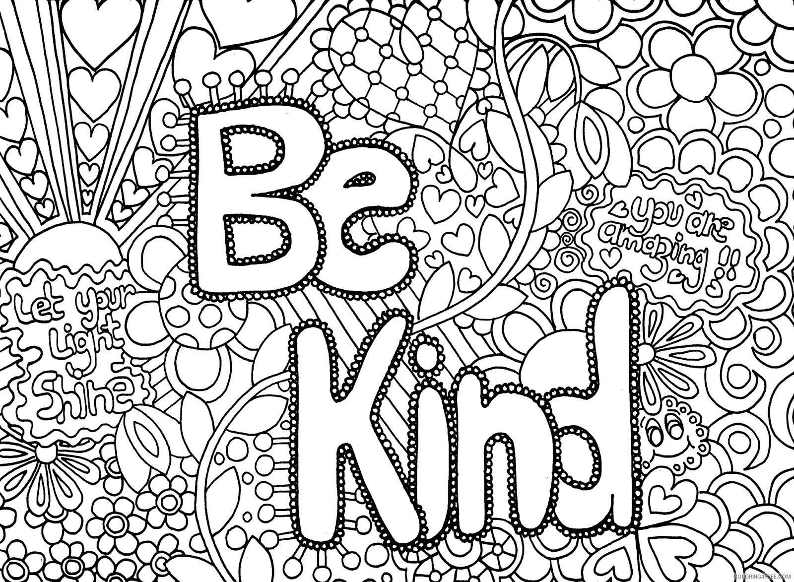Hard for Adults Coloring Pages Be Kind for Adults 1 Printable 2020 641 Coloring4free
