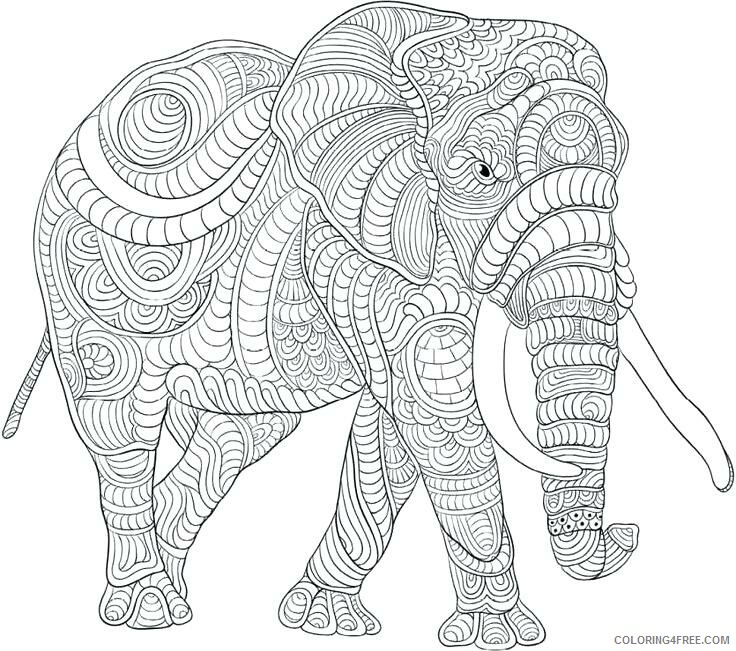 Hard for Adults Coloring Pages Hard Elephant for Adults Printable 2020 671 Coloring4free