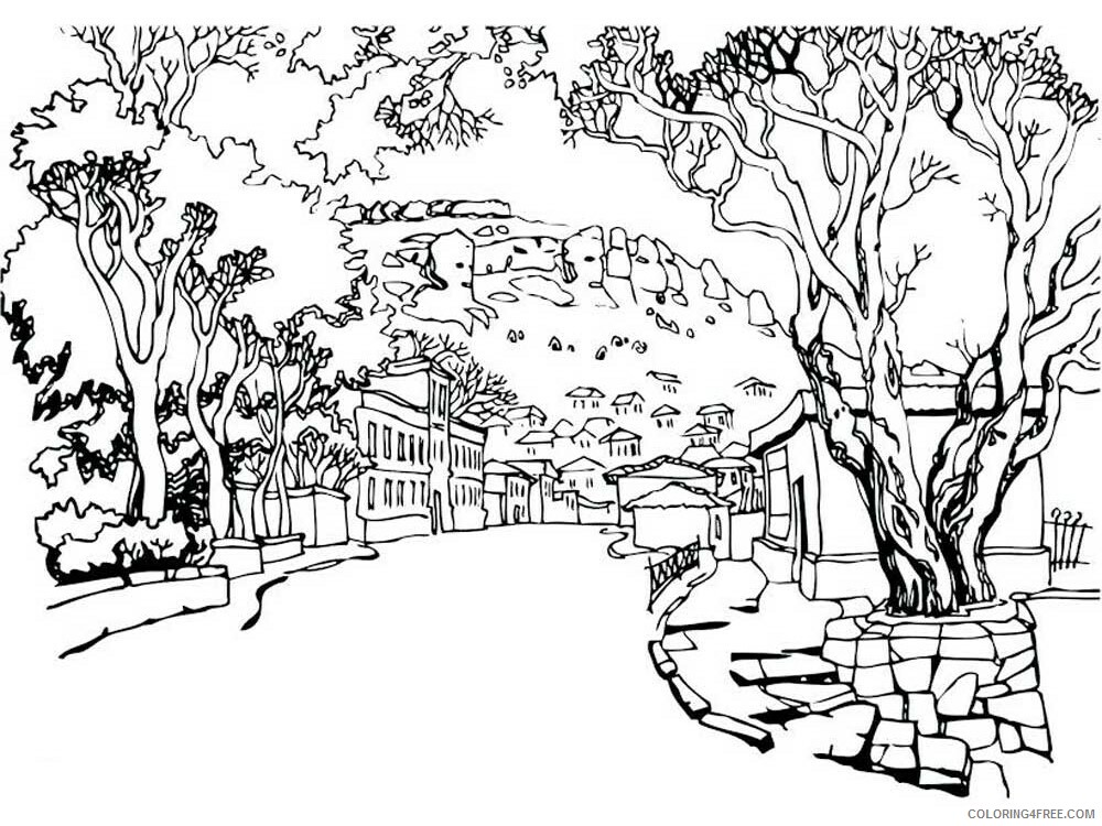 Landscapes Coloring Pages Adult landscapes for adults 12 Printable 2020 488 Coloring4free