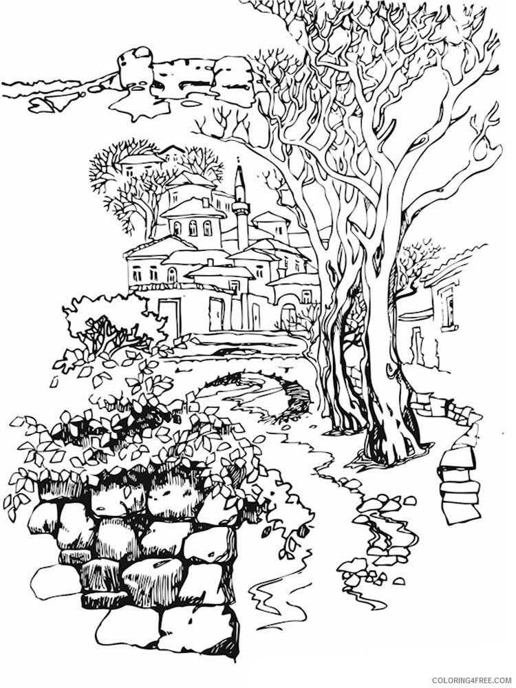 Landscapes Coloring Pages Adult landscapes for adults 2 Printable 2020 492 Coloring4free