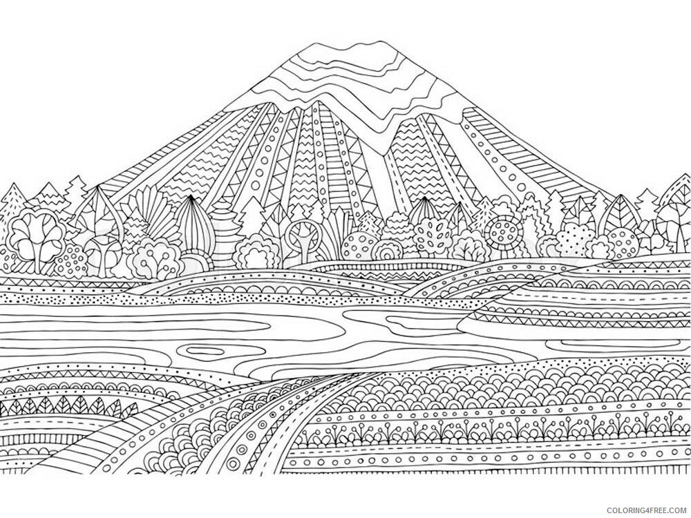 Landscapes Coloring Pages Adult landscapes for adults 5 Printable 2020 493 Coloring4free