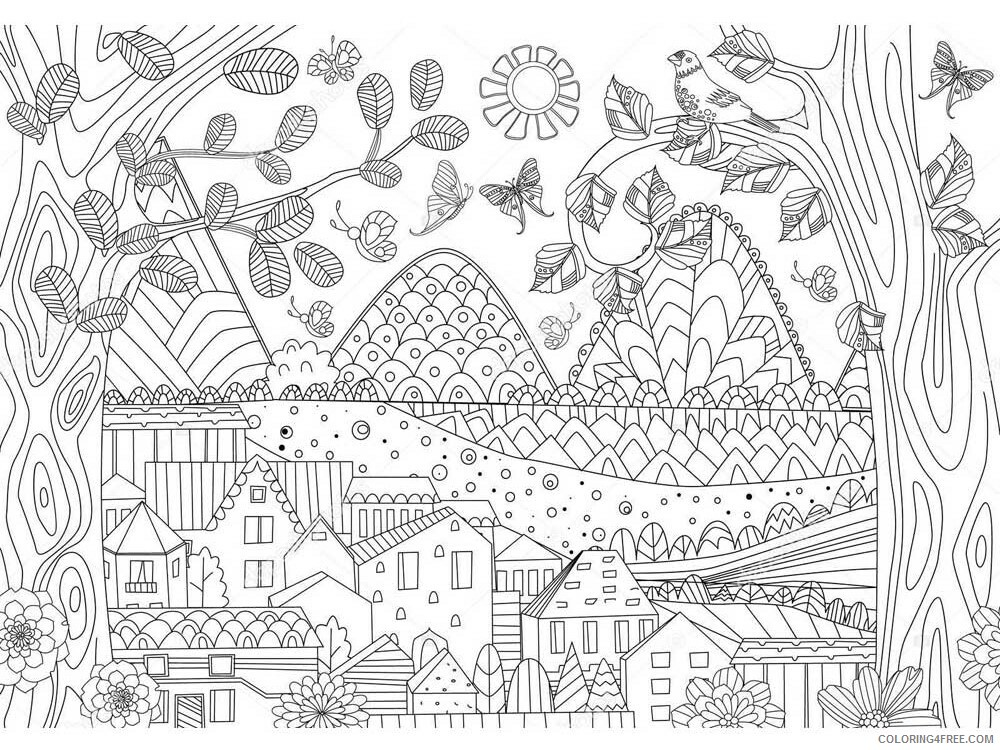 Landscapes Coloring Pages Adult landscapes for adults 8 Printable 2020 494 Coloring4free