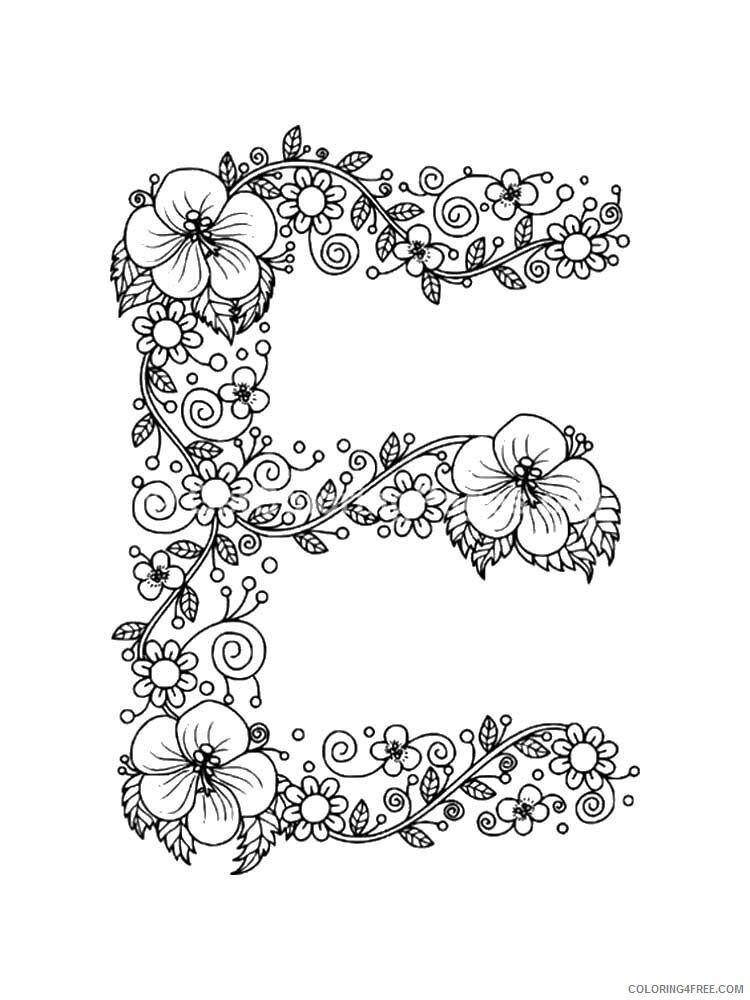 Letter E Coloring Pages Alphabet Educational Letter E Of 2 Printable 2020 067 Coloring4free Coloring4free Com